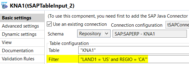 Konfiguration der Talend SAP Komponente