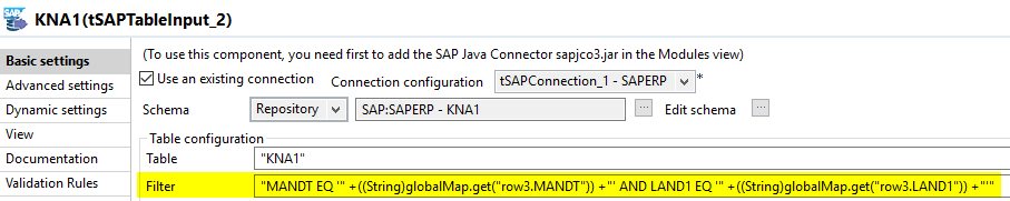 Filter der Talend SAP Komponente